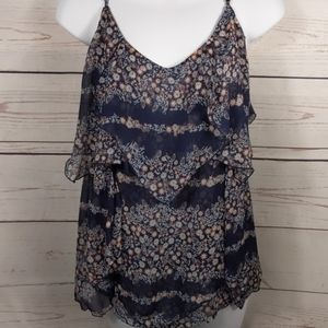 Navy & Floral Layered Adjustable Strap Tank XL